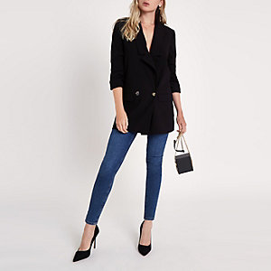 Black longline ruched sleeve blazer