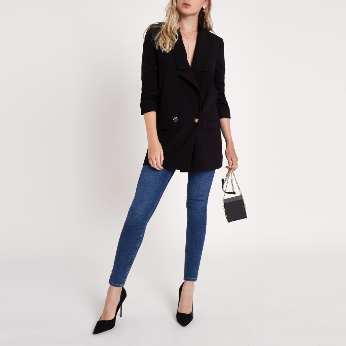 Black longline ruched sleeve blazer