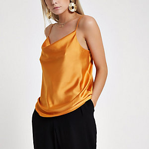 Petite orange cowl neck cami top