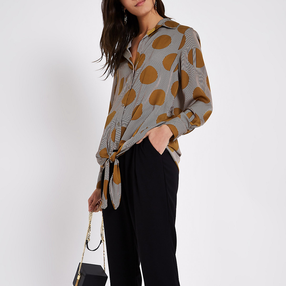 Brown print long sleeve tie front shirt