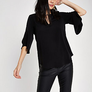 Black frill sleeve blouse
