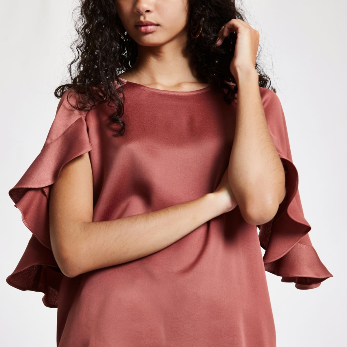 Dark pink satin frill sleeve top