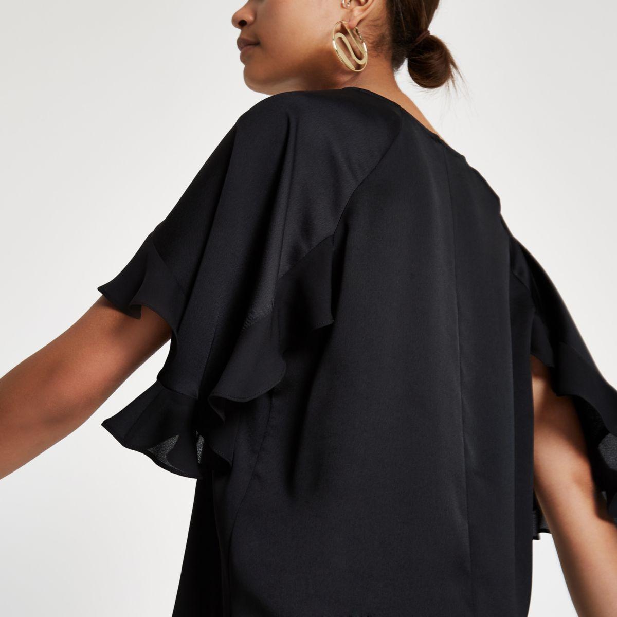 Black satin frill sleeve top