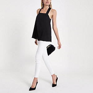 Black tie back cami top