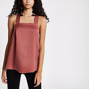 Pink tie back cami top