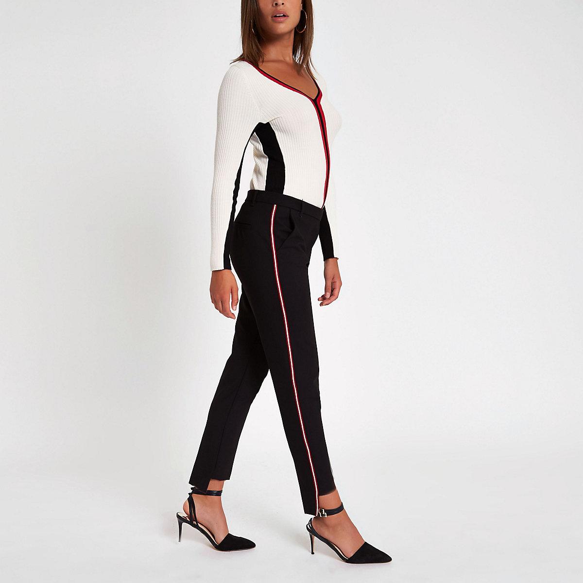 Black tape stripe cigarette trousers