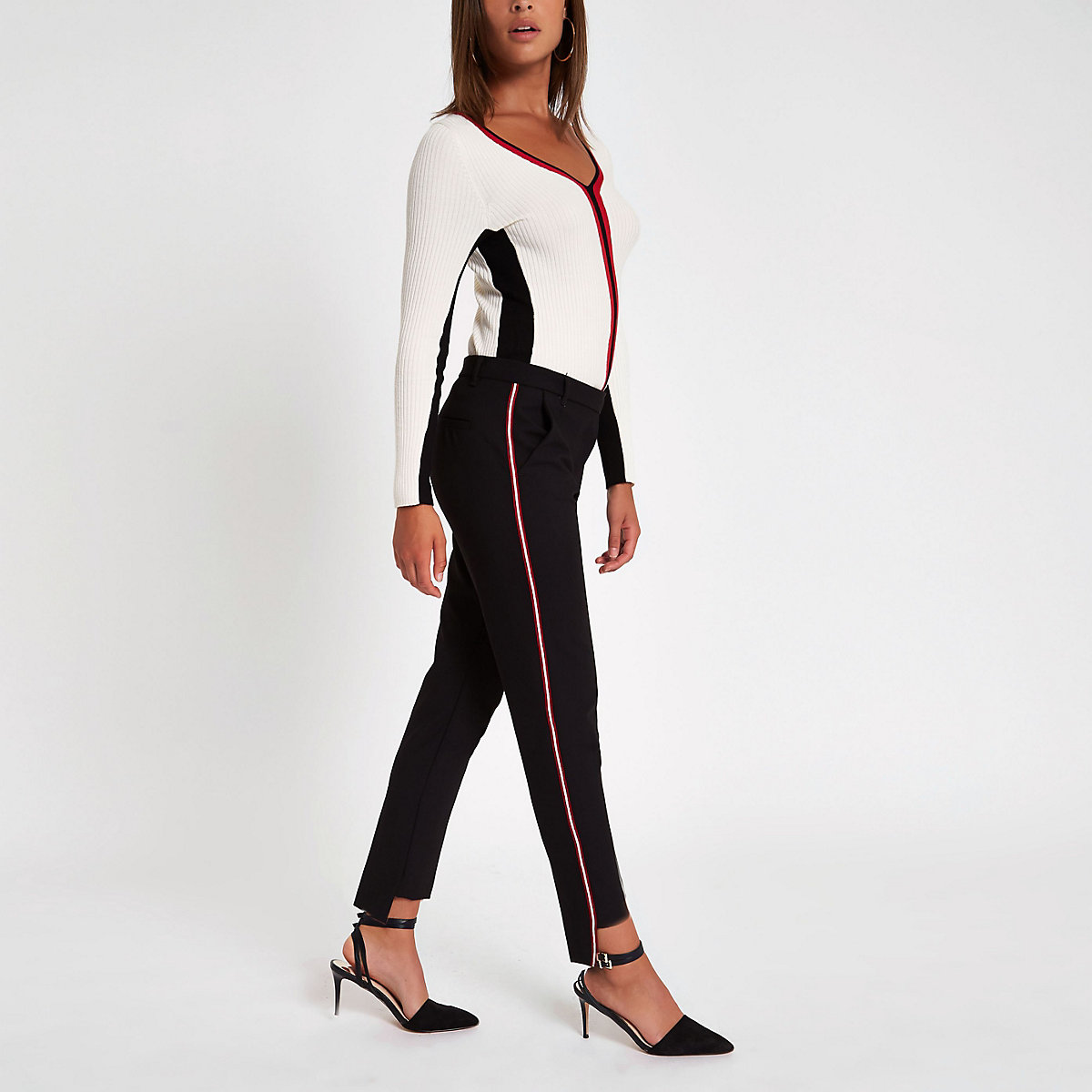 Black tape stripe cigarette pants