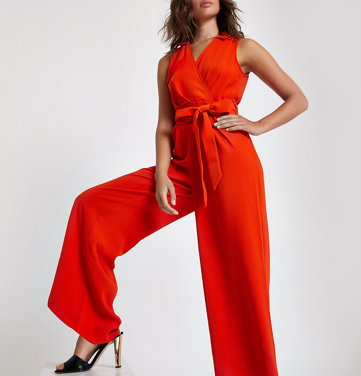 Red wrap tie front wide leg jumpsuit