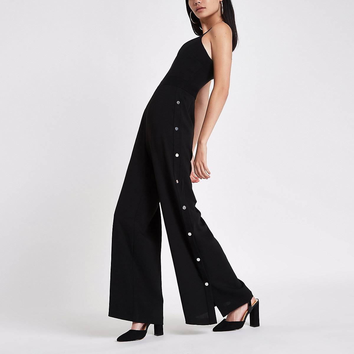 Black V neck popper side jumpsuit