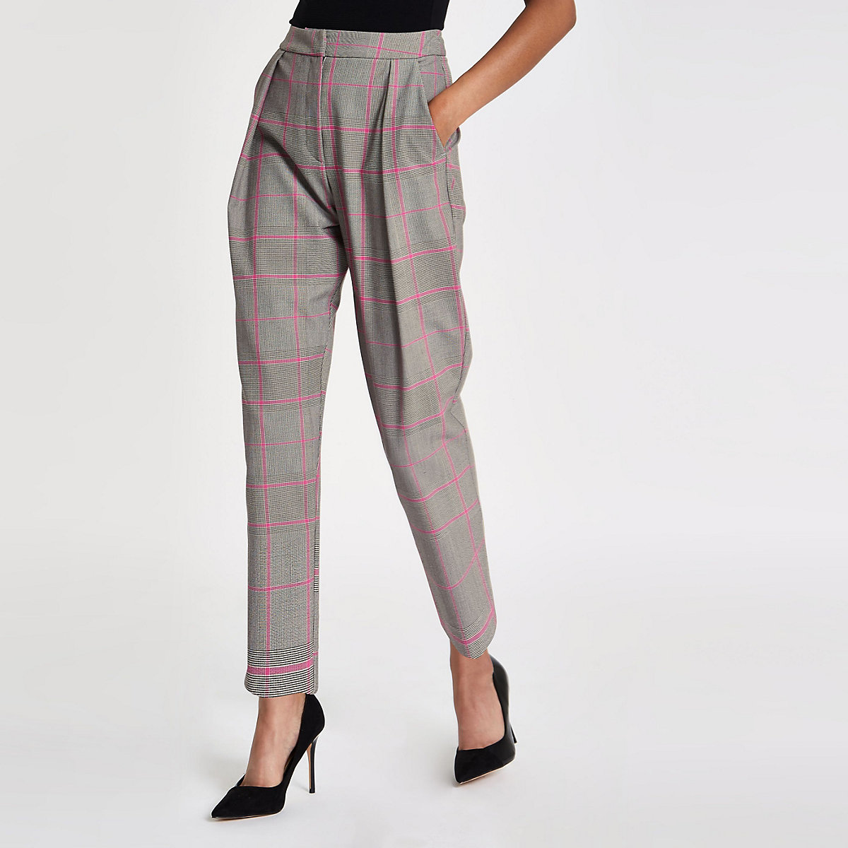 Pink check fitted peg trousers