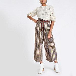 Pantalon large imprimé pied-de-poule marron à ceinture