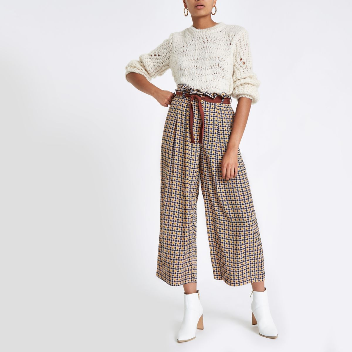 Brown dogtooth print wide leg belted trousers