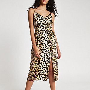 Black leopard print midi slip dress