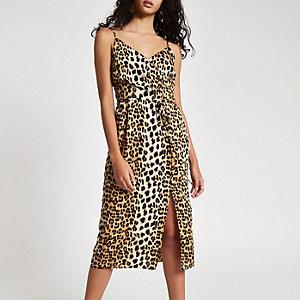 Robe mi-longue à enfiler noire à imprimé léopard