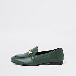 Donkergroene leren loafers
