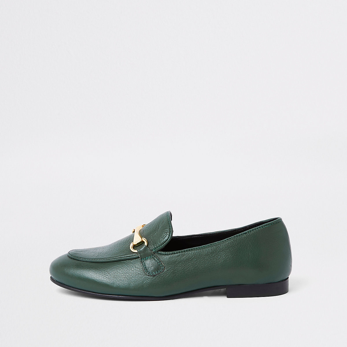 Dark green leather snaffle loafer