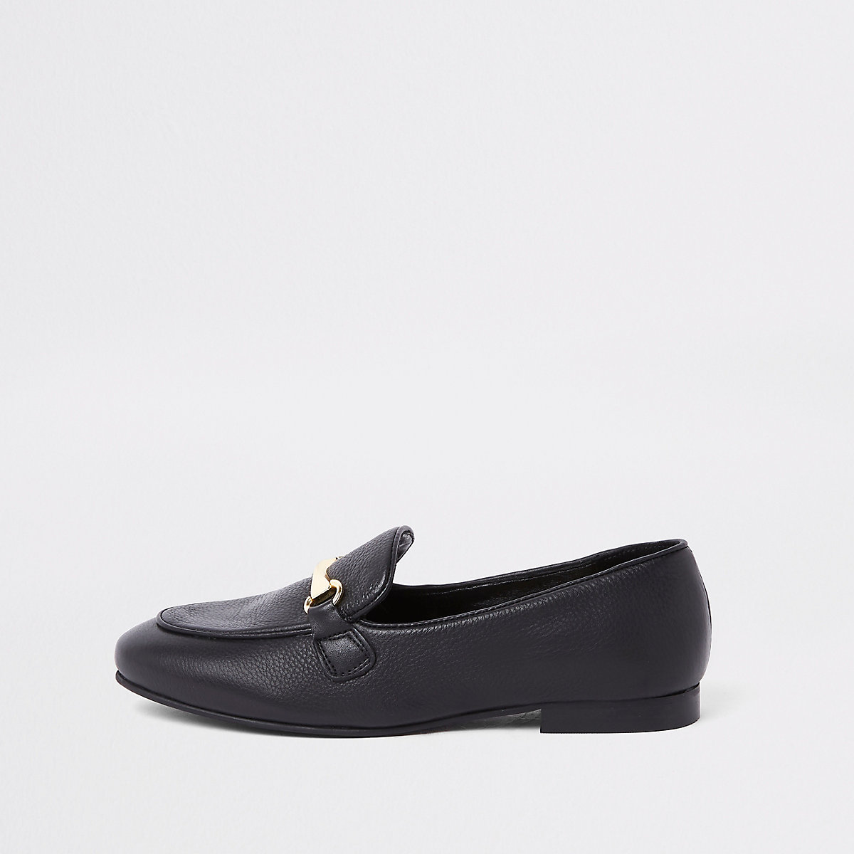 Black leather snaffle loafer
