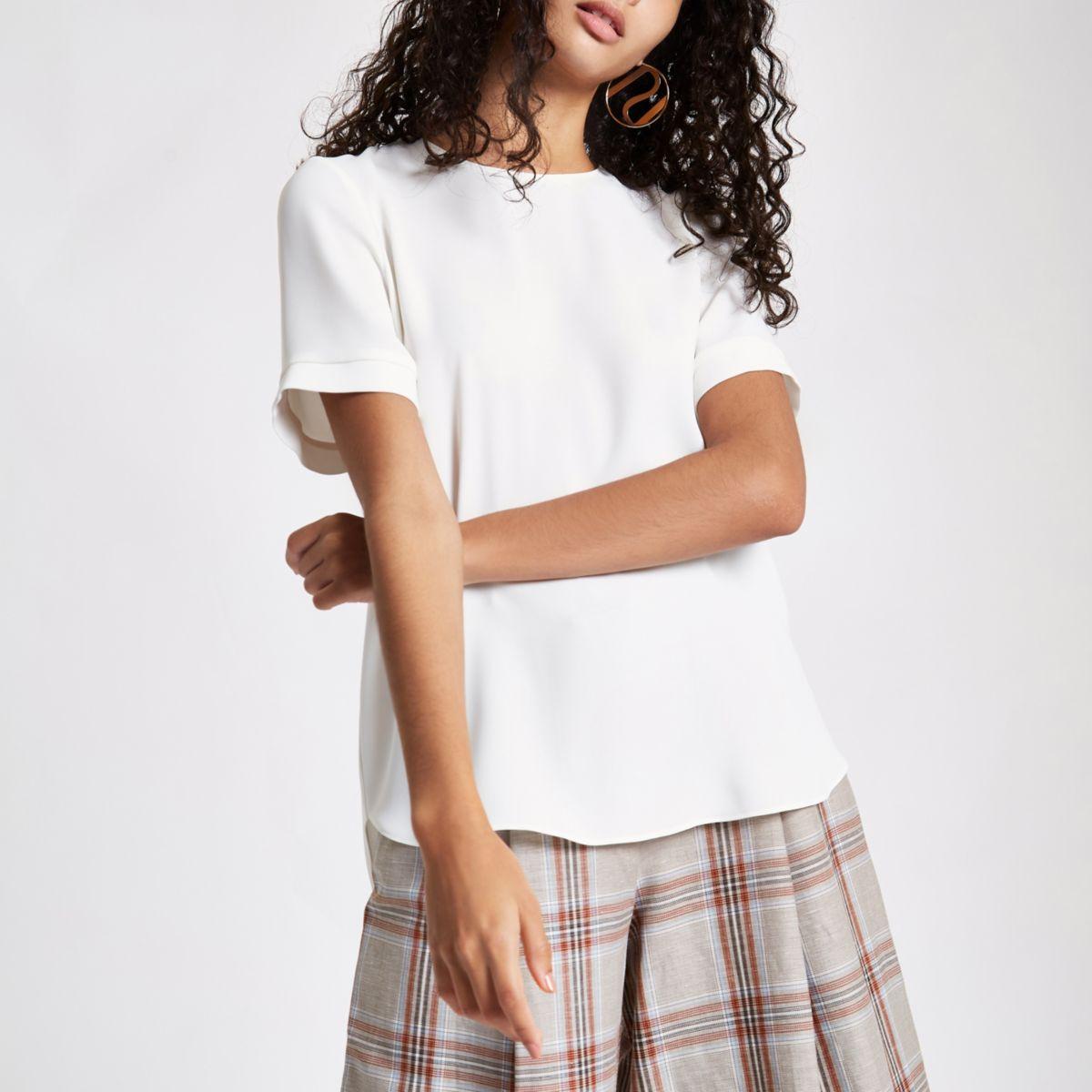 Cream zip back loose fit T-shirt