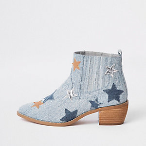 Lichtblauwe laarzen met sterrenprint