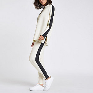 Beige knit side stripe joggers