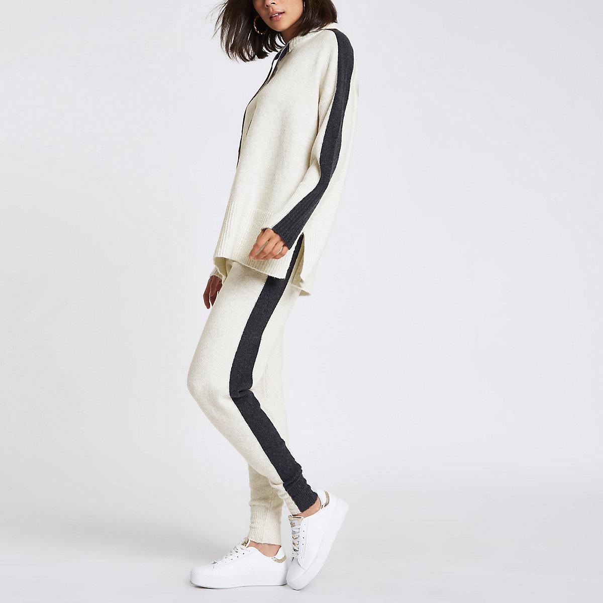 Beige knit side stripe joggers