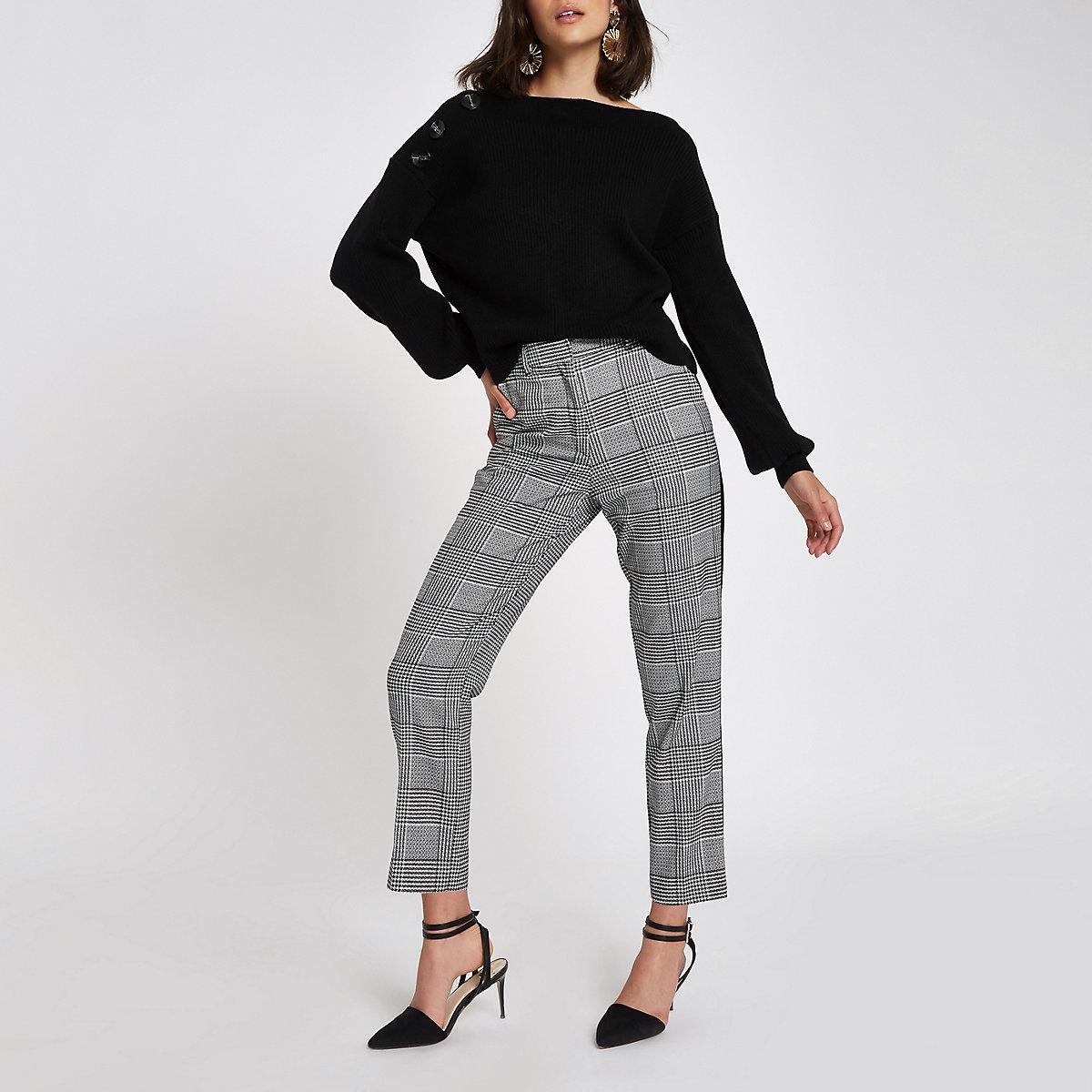 Black rib knit button shoulder sweater