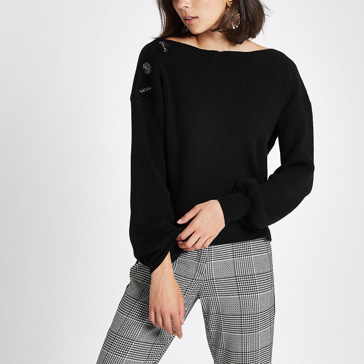 online store 9fd05 eccca Black rib knit button shoulder jumper