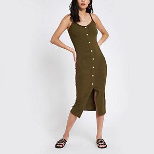 Bodycon-Kleid in Khaki mit Knöpfen