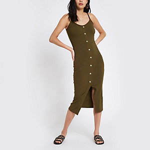 Khaki button front rib bodycon dress