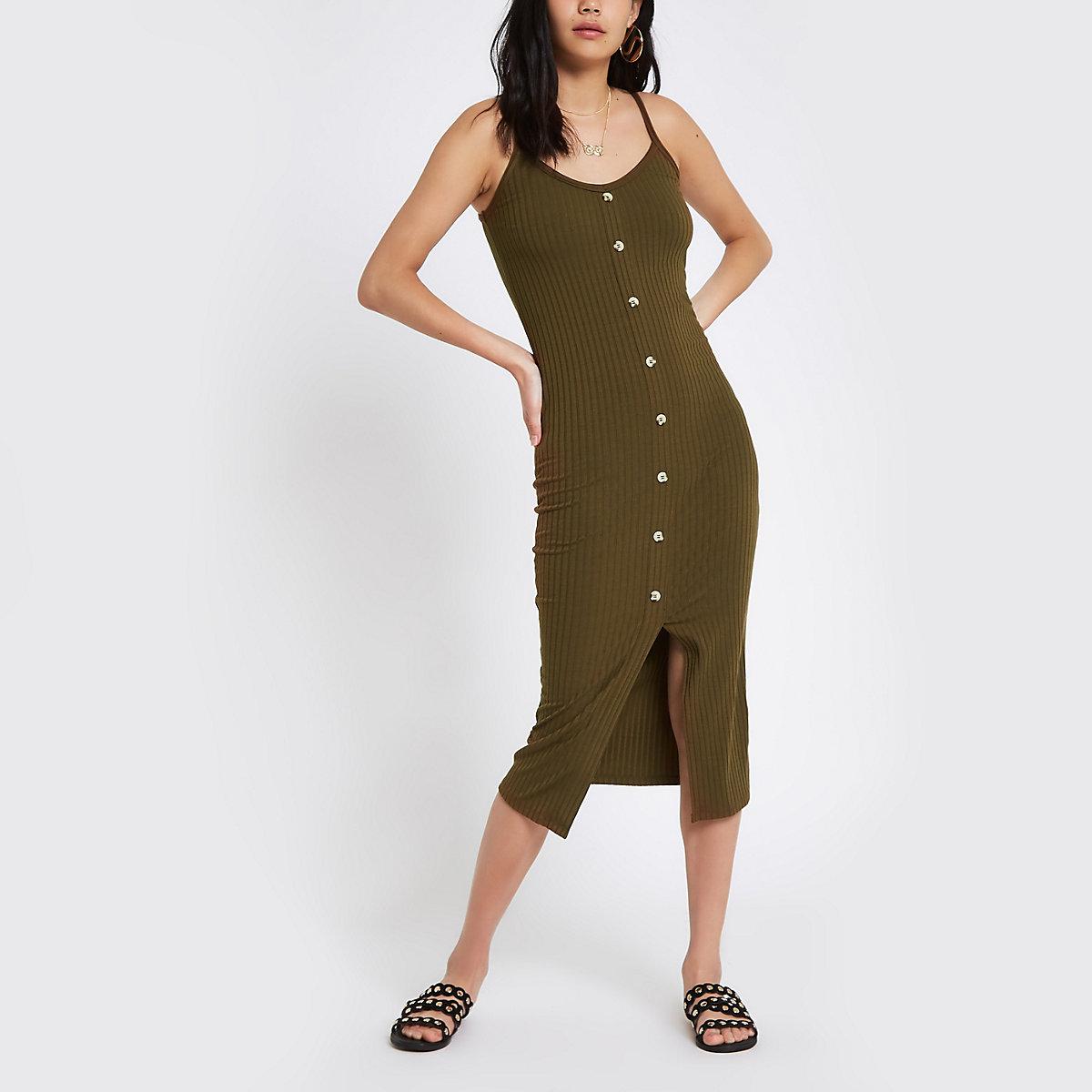 Khaki button front rib bodycon dress