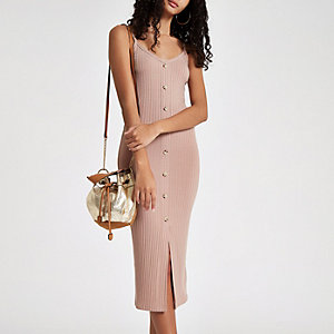 Beige button front rib bodycon dress