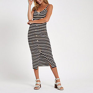 Navy stripe button front rib bodycon dress