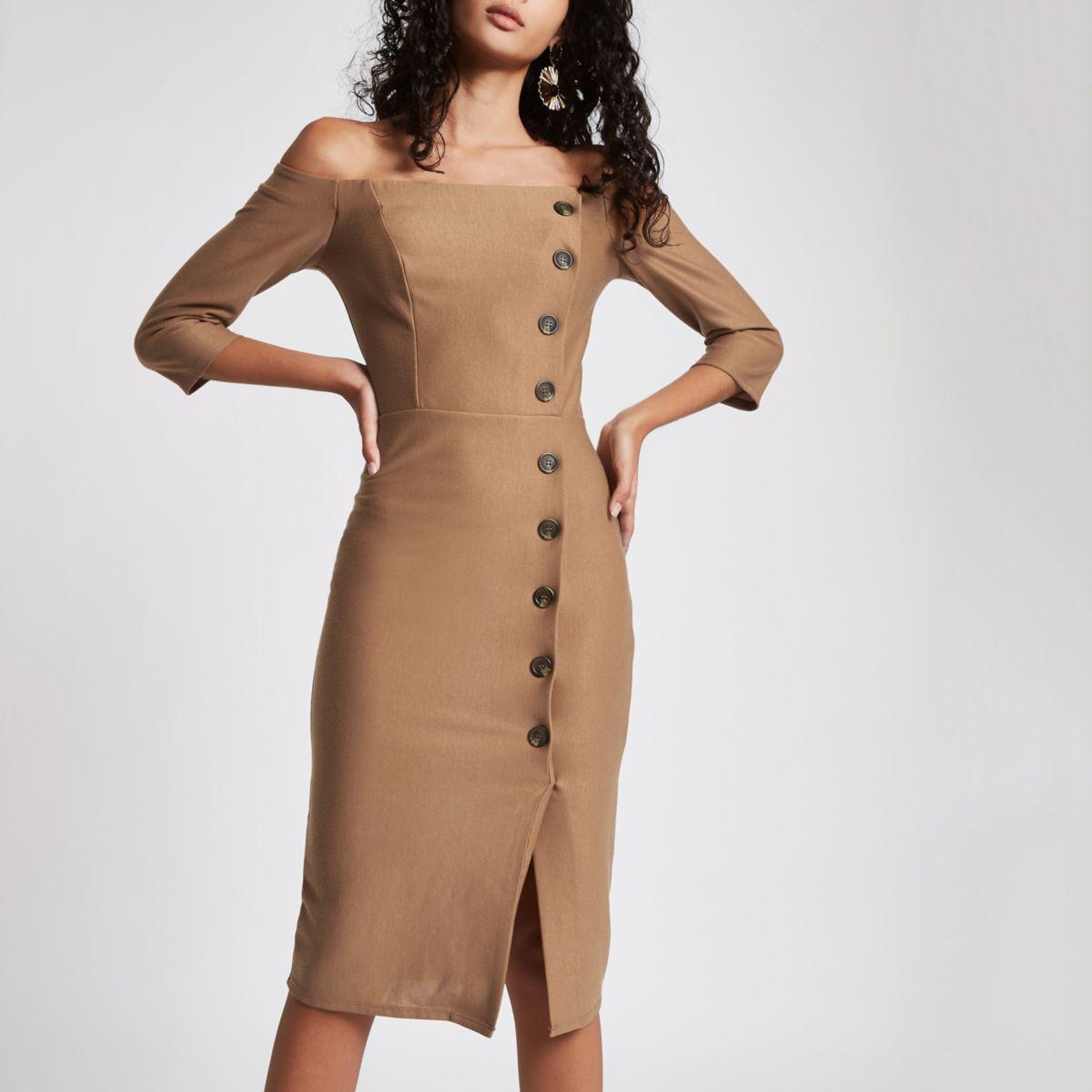 Beige bardot button front bodycon midi dress