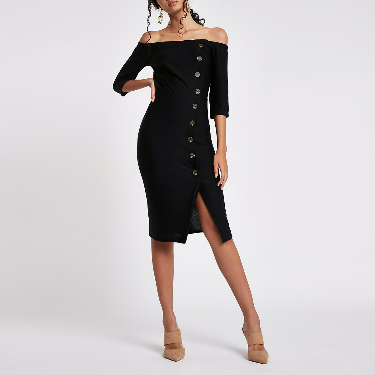 65fba545f88 Black bardot button front bodycon midi dress - Bodycon Dresses - Dresses -  women