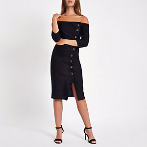 Navy stripe bardot button front bodycon dress