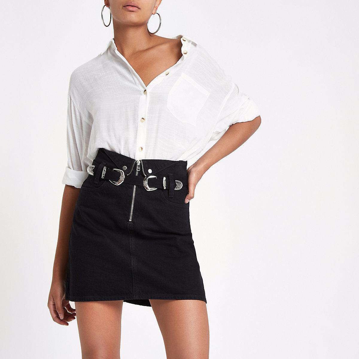 Black zip front mini denim skirt