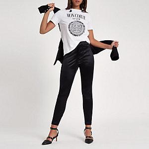 T-shirt ajusté imprimé «Mon Cœur» blanc