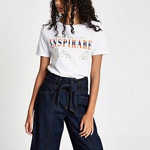 T-shirt « Inspirare » ajusté blanc