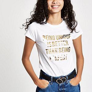 T-shirt à imprimé métallisé « being unique » blanc
