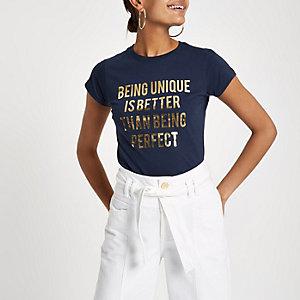 Navy 'being unique' foil print T-shirt
