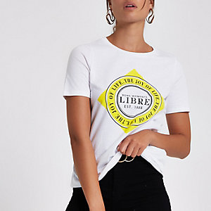 T-shirt imprimé «Libre» blanc