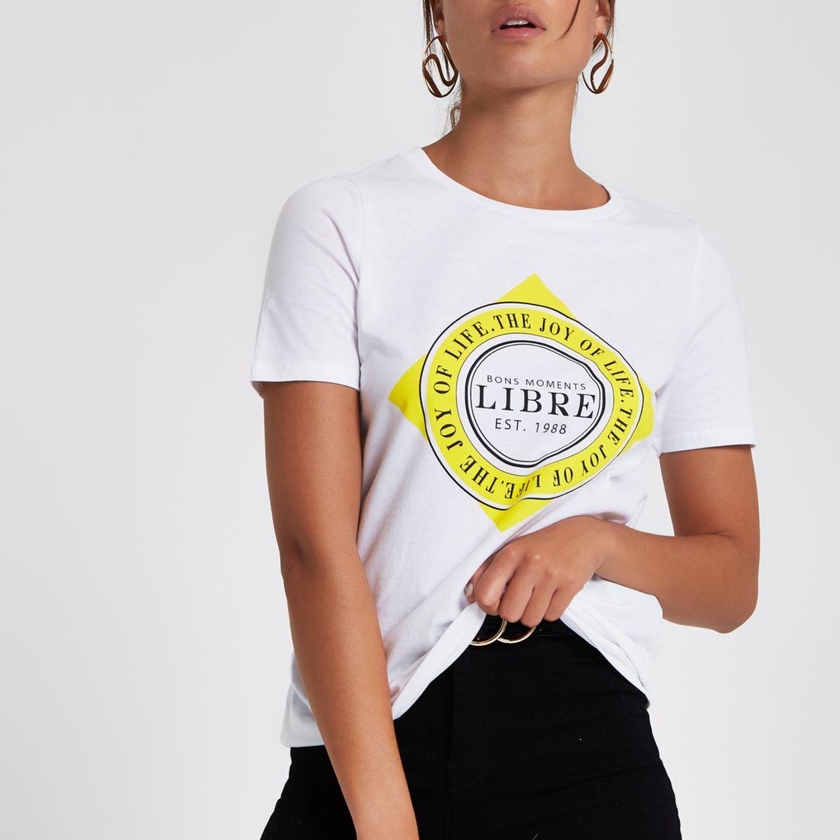 White 'Libre' print T-shirt