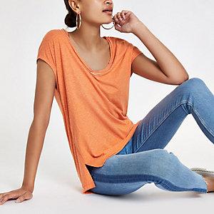 Orange rhinestone neck embellished T-shirt
