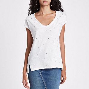 Wit T-shirt met siersteentjes