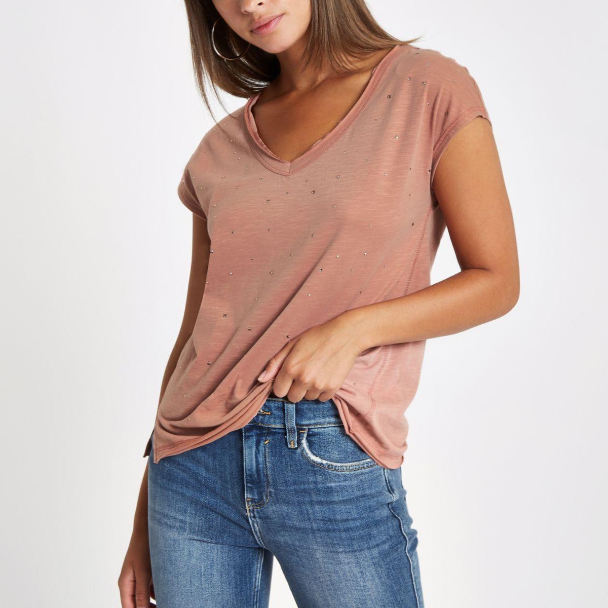 Pink rhinestone embellished T-shirt