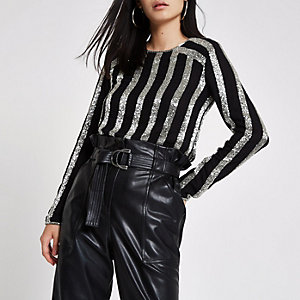 Black sequin stripe long sleeve top