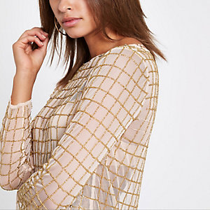 Gold rhinestone long sleeve top