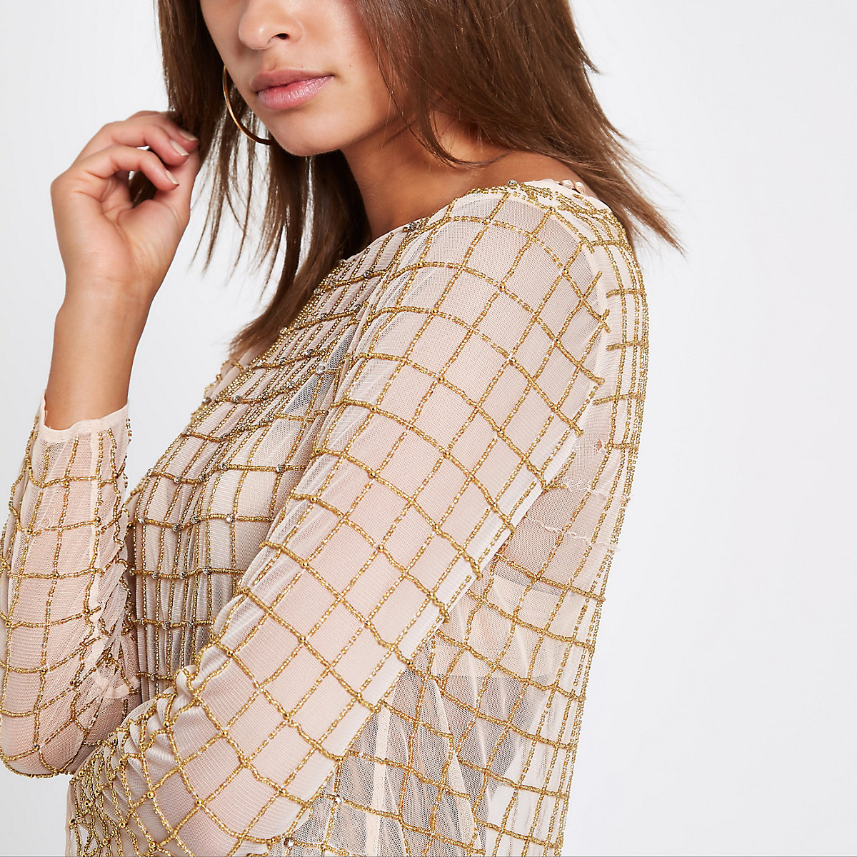 Gold diamante long sleeve top