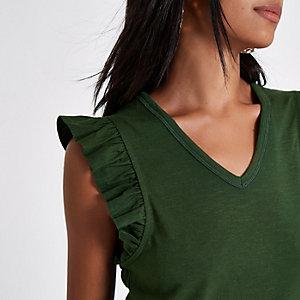 Khaki frill V neck tank top