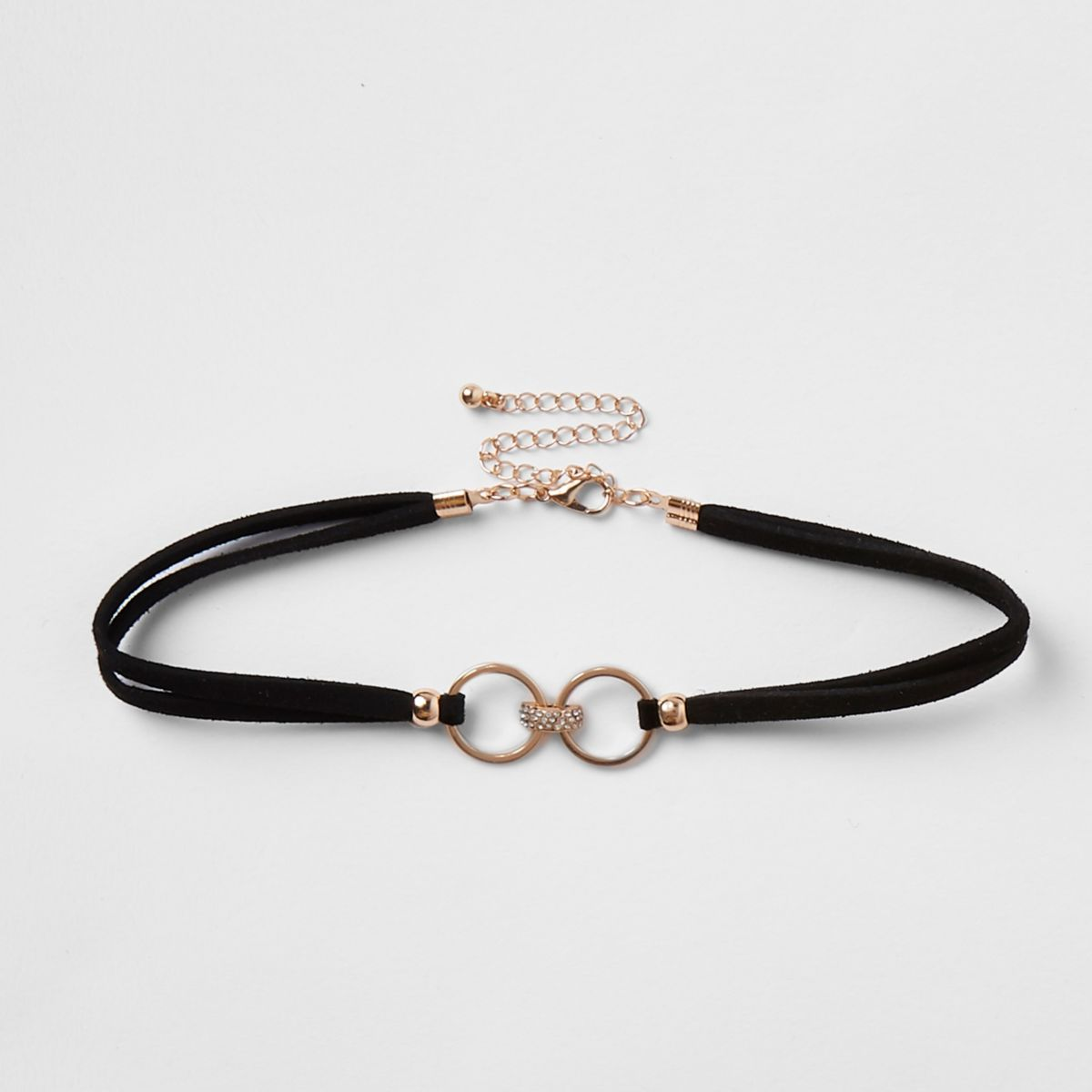 Black diamante pave circle choker